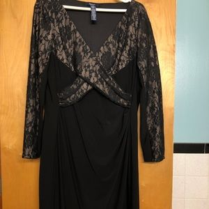 Black long sleeve dress w/ nude lace accents